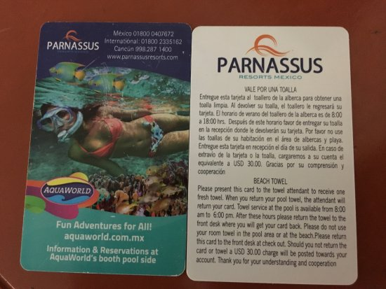 Golden Parnassus All Inclusive Resort & Spa Cancun: Towel card: exchange 1 card for 1 towel. Lose the card or toe = $30 USD fee