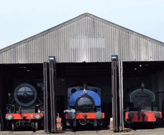 Engine Shed at Whitehead Railway Museum on a lovely sunny day with 3 steam locomotives on view