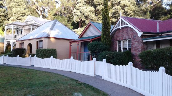 Strahan Village: The row of heritage cottages on the harbour front