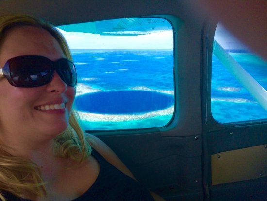 The Great Blue Hole at Lighthouse Reef: The Blue Hole from the plane's window