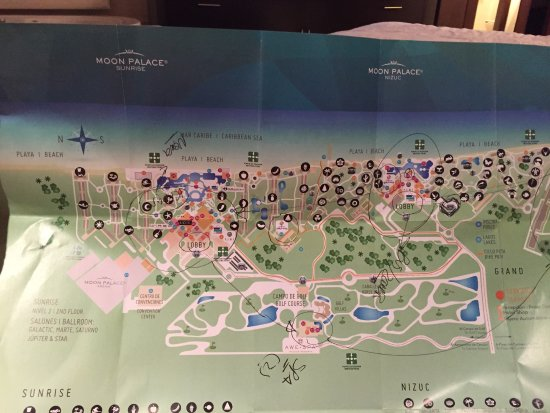 Main plex campus map Picture of Moon Palace Cancun Cancun