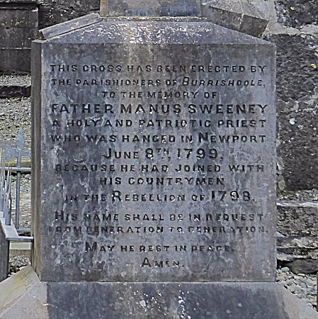 Newport, Ireland: Inscription on Fr Manus Sweeney's monument