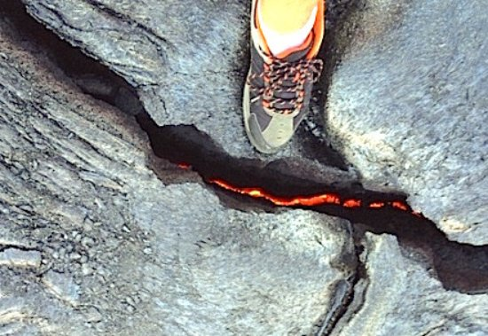 Waimea, HI: Lava at our feet!  Feel the heat!