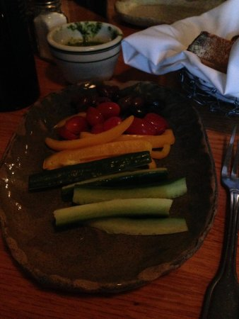 Needham, MA: The gluten free bread alternative at Sweet Basil: a nice spread of vegetables.