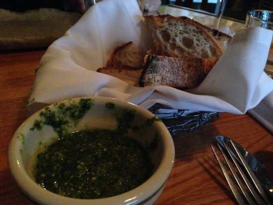 Needham, MA: The fantastic on the house pesto & bread.