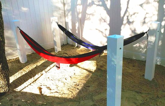 Anvil Campground: Hammocks at our new Beach Park themed playground