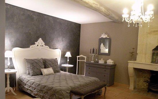 Rauzan, France: Grande Chambre Comtesse avec cheminée d'époque