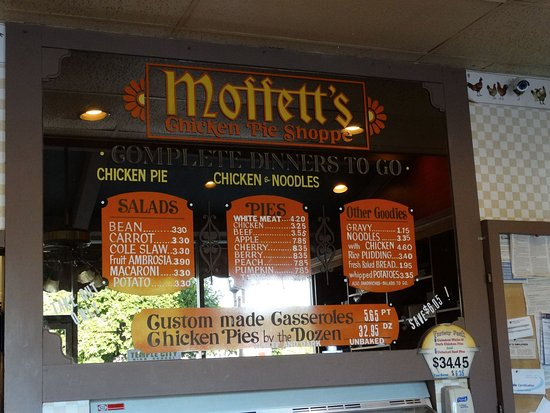 Moffetts Chicken Pie Shoppe: Moffett's Chicken Pie Shoppe Menu