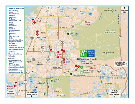 Trinity Florida Map.Area Map Of Restaurants And Things To Do Picture Of Holiday Inn