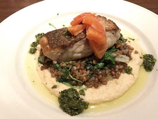Clyde's of Reston: Fresh rockfish with wheat berry pilaf, celeriac purée, kale, fennel, cava orange, and salsa verd