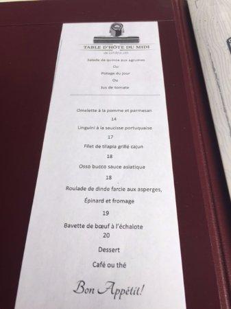 Restaurant l'imprevu: Daily menu