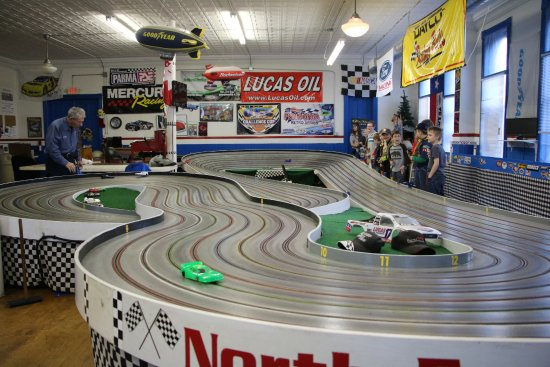 North East, PA: Cub scout packs experience racing slot cars.