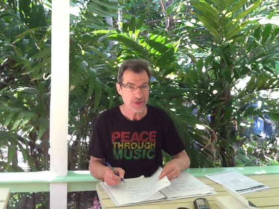 Sivananda Ashram Yoga Retreat: My husband journaling during our stay