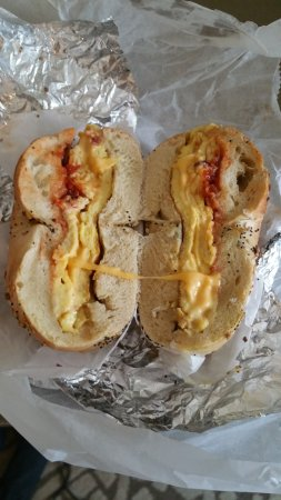 Bacon, egg, and cheese on an everything bagel