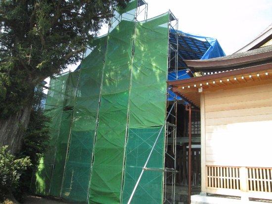 Yuki, Japan: 本殿は修理中