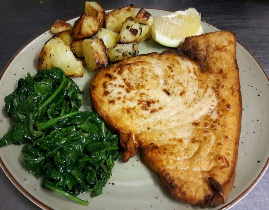 Massimo's: sword fish with oven roasted potatoes and baby spinach