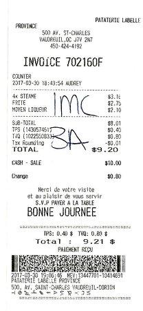Vaudreuil-Dorion, แคนาดา: 30 mars 2017 / $9.20