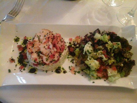 La Regence : salade d'avocat ,crabe et homard (selon saison )