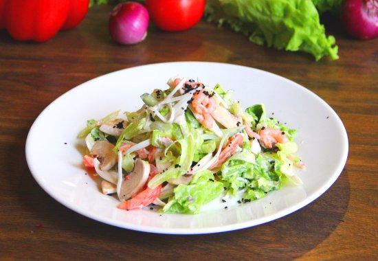 креветками крабовое мясо Салат с