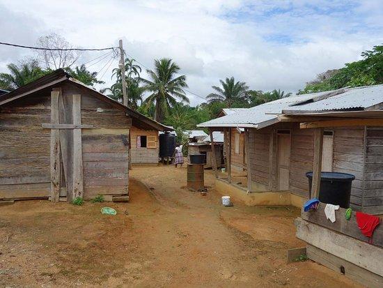 Cajana, Surinam: Dorp, houten huizen, niet op palen