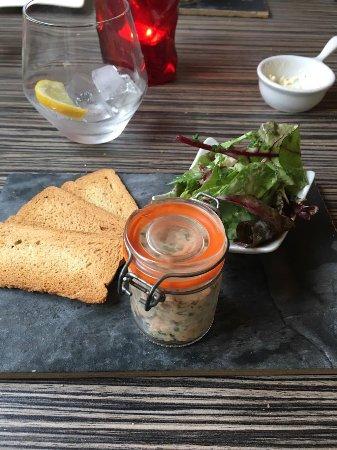 Chloe's Restaurant: Salmon Rillette, served with Mixed Leaf Salad & Toast Bites- Pre Theatre Menu