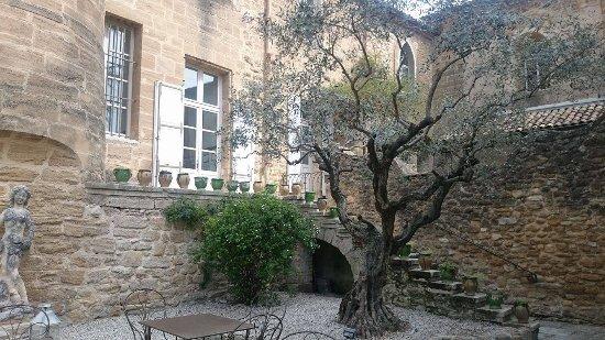 Rochegude, Frankreich: La cours du Restaurant faisant aussi office de terrasse
