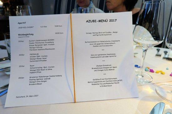Darscheid, Alemania: Speisekarte Azubi-Event 2017