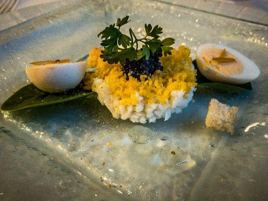 Restaurant Eleonore : Mimosa with Quail Egg, Citron Confit and Cavier, a wonderful Amuse Bouche.