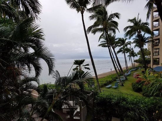 Kahana Beach Resort: View from second floor, west side.