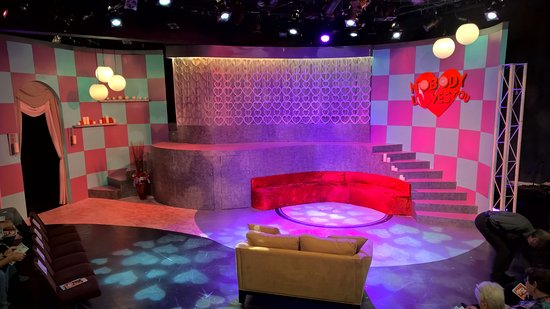 "Horizon Theatre Company: The colorful set for ""Nobody Loves You!"" The band was behind the top center ""curtain area."