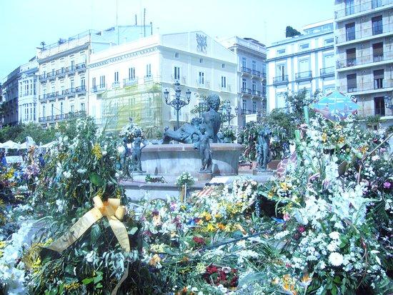 Basilica de la Virgen de los Desamparados: i fiori nella piazza