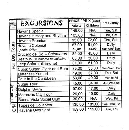 Cuba Excursions Day Tours Excursion Prices Air Canada Vacations