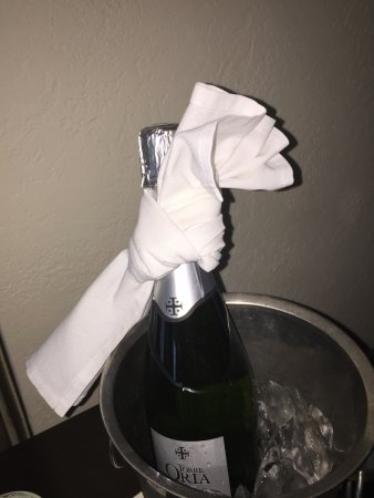 The Ritz-Carlton, San Juan: Champagne for being Gold level, but I would have preferred to have not been disturbed instead!