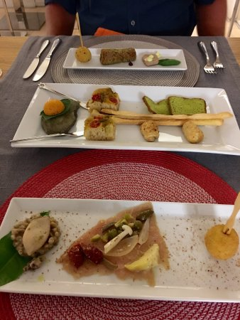 La Sosta Restaurant: First course (one land/one sea) and delicious breads