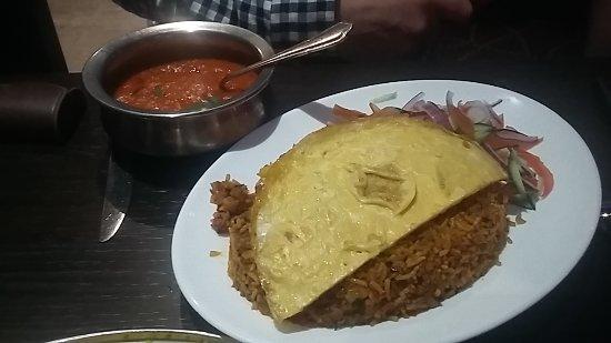 Little Sutton, UK: Keema Byriani and Samba Sauce