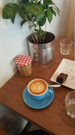 Flat white with salted caramel brownie. The Espresso and americano are out of frame because I'd