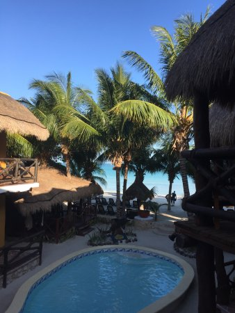 Holbox Dream Beach Front Hotel by Xperience Hotels: View from our cozy private porch: pool and beach!