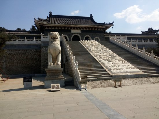 Haicheng, China: Grand stairway leading to the temple courtyard