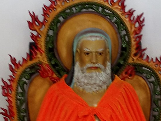 Haicheng, China: Da Mo brought Zen meditation from India to China but he looked like a Westerner