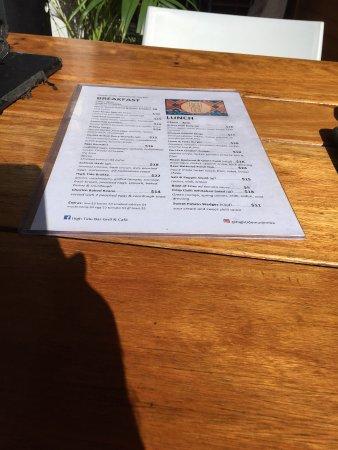 Mudjimba, Australia: menu