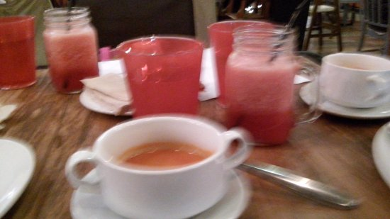 Metro Manila, Philippines: the tomato soup was really good, watermelon shake in mason jars
