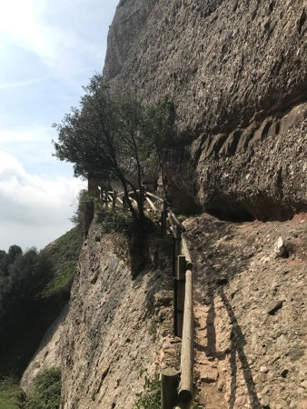 Sant Jeroni: narrow path to caves on the cliffside where hermit to live