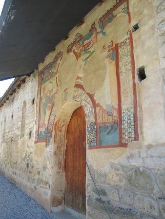 Vall de Boi, Espanha: kopie van fresco aan ingang