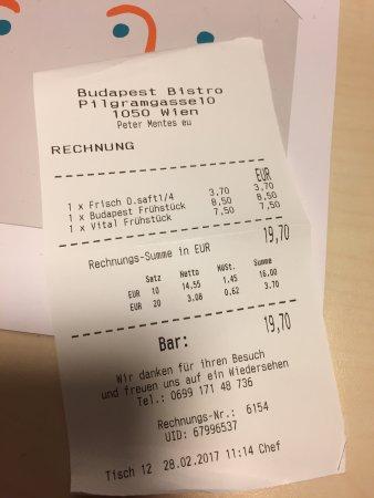 Rechnung Frühstück für 2 inkl. Kaffeegetränke - Picture of Budapest ...