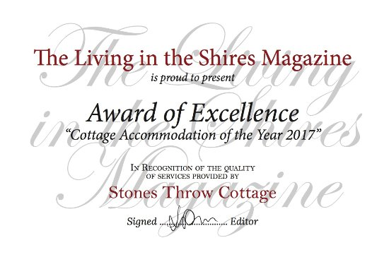 Stone's throw Cottage: Award of Excellence, Cottage Accommodation of the Year 2017