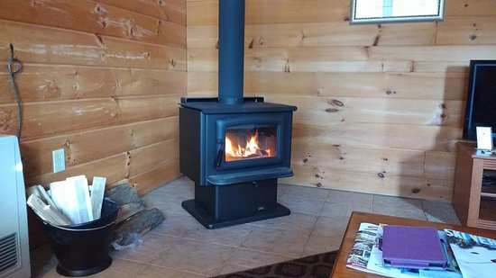 Jeffersonville, VT: Wood Stove in living room