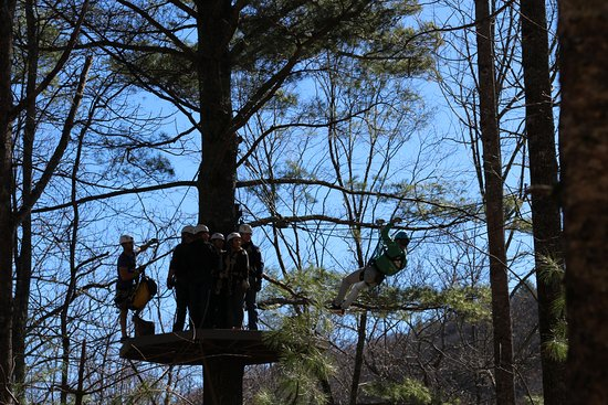 Scaly Mountain, Carolina del Norte: Our crew getting ready to take on the next zip line