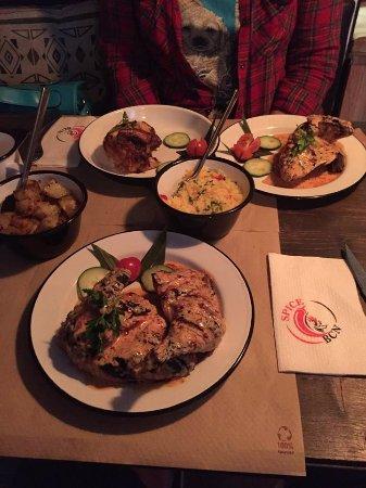 Spice Bcn Amigo: 1/2 South African Chicken, 1/4 Caribbean and 1/4 South African Chicken. Potatoes and rice!
