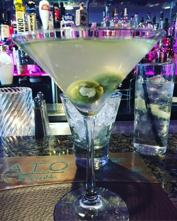 Hull, MA: Perfectly made dirty martini with blue cheese olives!