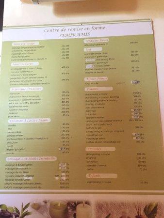 Hotel Marrakech le Semiramis: Spa menu